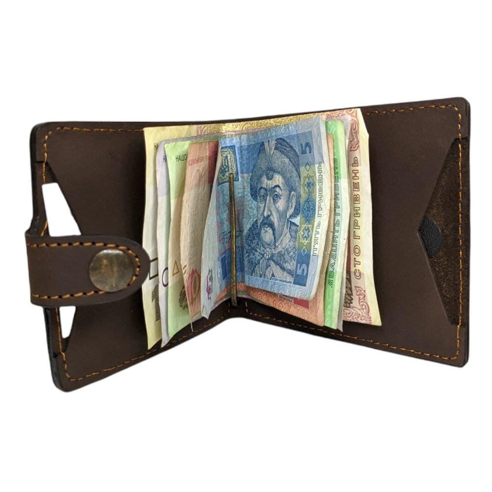 Євро-гаманець-2 шкіряний Коричневий