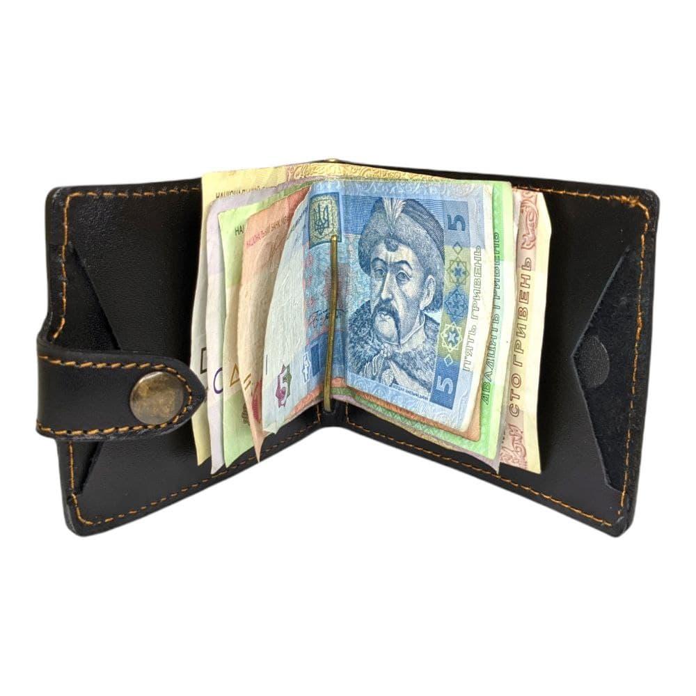 Євро-гаманець-2 шкіряний Чорний