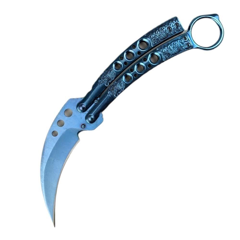 Балисонг синій Kerambit з чохлом
